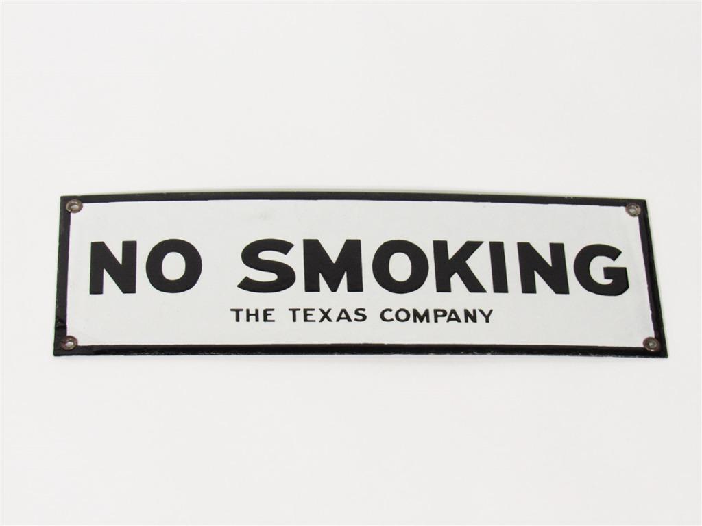 CIRCA 1930S THE TEXAS COMPANY NO SMOKING PORCELAIN FUEL ISLAND SIGN