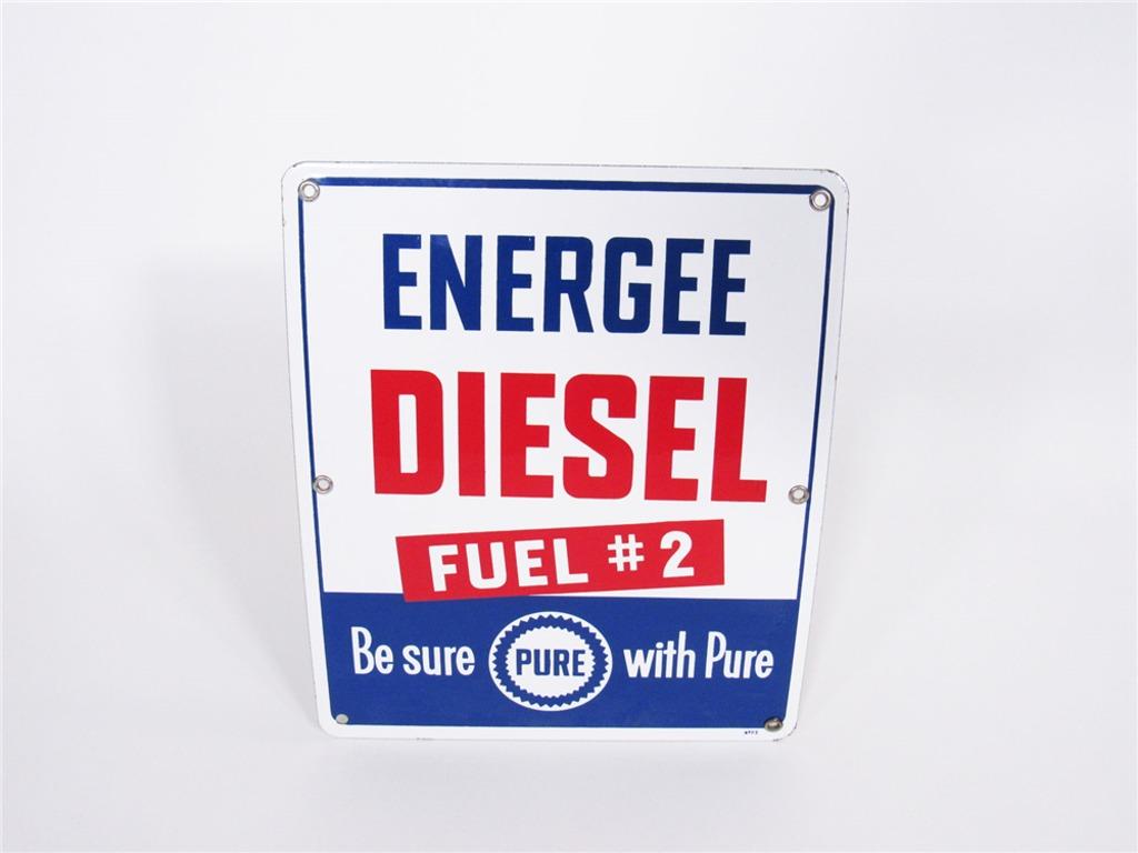 1950S PURE OIL ENERGEE DIESEL PORCELAIN PUMP-PLATE SIGN