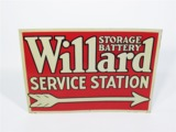 EARLY 1930S WILLARD STORAGE BATTERY STATION GARAGE SIGN