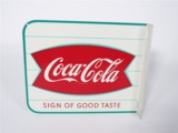 LATE 1950S-EARLY 60S COCA-COLA TIN FLANGE SIGN