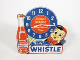 1940S WHISTLE ORANGE SODA DINER CLOCK