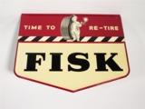 PRISTINE 1949 FISK TIRES EMBOSSED TIN AUTOMOTIVE GARAGE SIGN