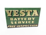 1930S VESTA BATTERY SERVICE EMBOSSED TIN SERVICE STATION SIGN