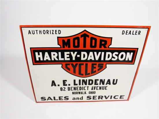 LATE 1940S-EARLY 50S HARLEY-DAVIDSON MOTORCYCLES EMBOSSED TIN DEALERSHIP SIGN