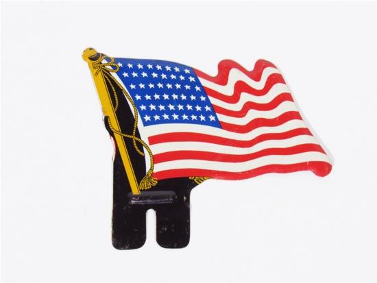 CIRCA 1930S-40S AMERICAN FLAG DIE-CUT TIN LICENSE PLATE ATTACHMENT SIGN