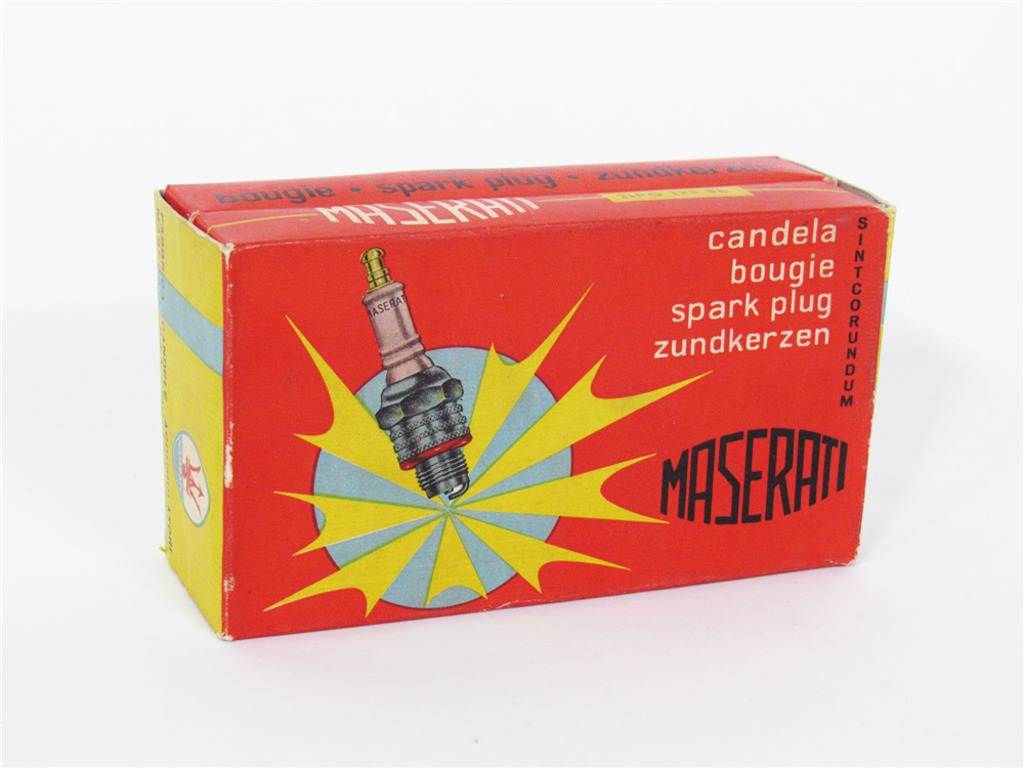 CIRCA LATE 1950S MASERATI SPARK PLUGS GARAGE COUNTERTOP DISPLAY BOX