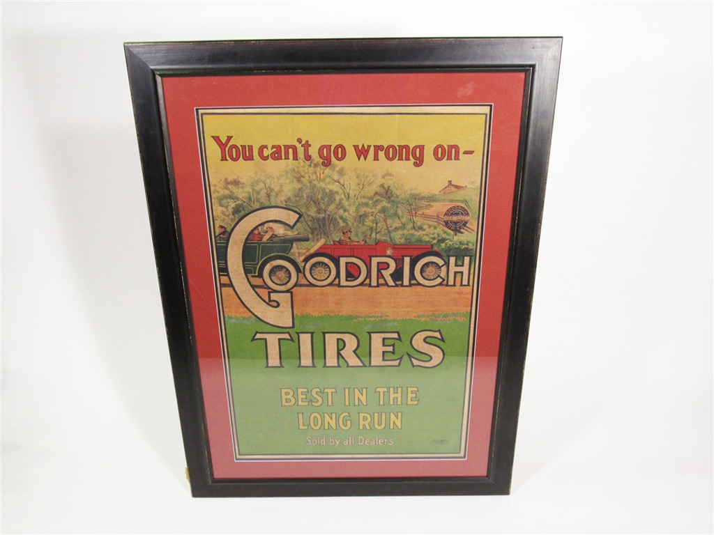 LATE TEENS GOODRICH TIRES FILLING STATION LITHOGRAPH POSTER