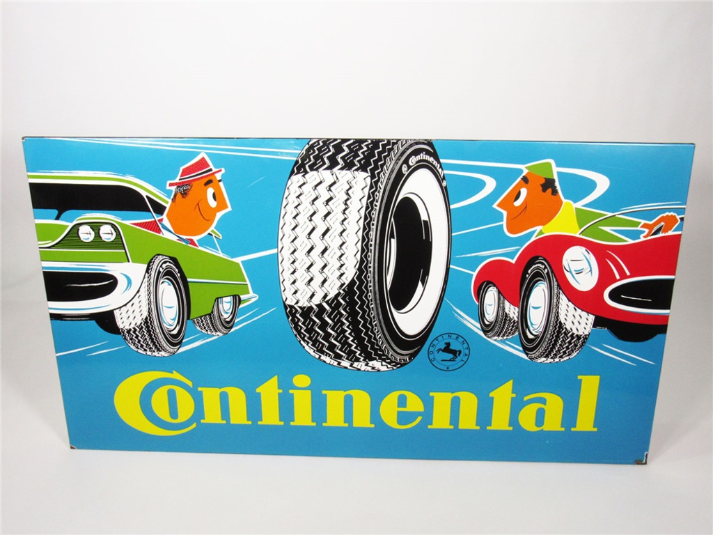 CIRCA EARLY 1960S CONTINENTAL TIRES PORCELAIN DEALERSHIP SIGN
