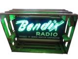1940S BENDIX AVIATION RADIOS NEON PORCELAIN AIRPORT HANGAR SIGN