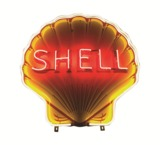 1930S SHELL OIL NEON PORCELAIN SERVICE STATION SIGN