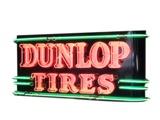 CIRCA LATE 1930S-40S DUNLOP TIRES NEON PORCELAIN AUTOMOTIVE GARAGE SIGN