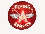 1940S-50S FLYING A SERVICE PORCELAIN WITH ANIMATED NEON GAS STATION SIGN