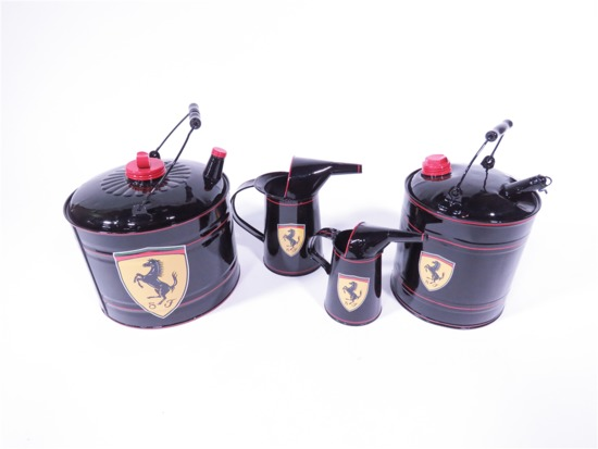 FOUR 1930S-50S SERVICE DEPARTMENT MULTI-FLUID TINS RESTORED IN FERRARI REGALIA