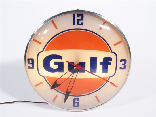 LATE 1950S-EARLY 1960S GULF OIL LIGHT-UP SERVICE STATION CLOCK