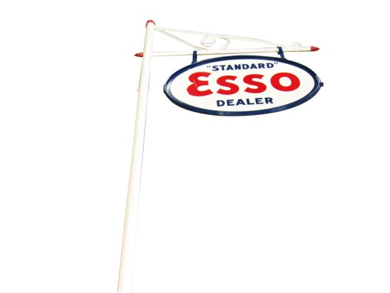 LARGE CIRCA 1940S ESSO OIL PORCELAIN SERVICE STATION SIGN