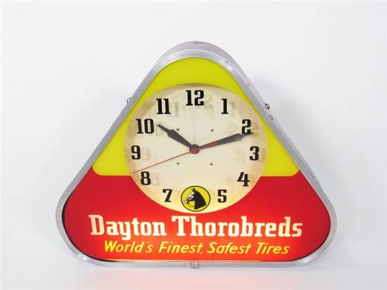 LATE 1940S-EARLY 50S DAYTON THOROBRED TIRES GLASS-FACED LIGHT-UP GARAGE CLOCK.