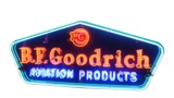 1955 BFGOODRICH AVIATION TIRES TIN AIRPORT HANGAR SIGN WITH NEON
