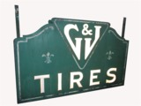 LATE 1920S G&J TIRES MILK GLASS WITH CORRUGATED METAL AUTOMOTIVE GARAGE SIGN