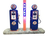 1947 JENNY TWIN ELECTRIC GAS PUMP STATION ISLAND RESTORED IN HUSKY REGALIA