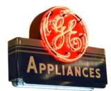 CIRCA 1940S GE APPLIANCES NEON PORCELAIN STORE SIGN