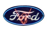 1930S FORD V8 NEON PORCELAIN DEALERSHIP SIGN