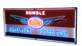 1950S HUMBLE ESSO AVIATION PRODUCTS PORCELAIN AIRPORT HANGAR SIGN WITH ANIMATED NEON