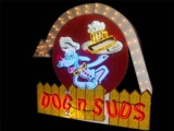 1950S DOGS N SUDS NEON PORCELAIN DRIVE-IN SIGN WITH ANIMATED ARROW
