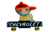 1950S CHEVROLET CHEVY BOY NEON PORCELAIN DEALERSHIP SIGN