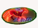 1950S POWER GASOLINE PORCELAIN NEON STATION SIGN