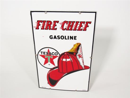 1961 TEXACO FIRE CHIEF GASOLINE PORCELAIN PUMP-PLATE SIGN