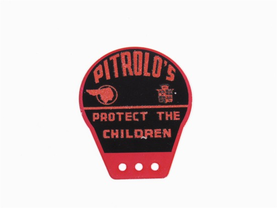 CIRCA 1940S PITROLOS PONTIAC-CADILLAC TIN LICENSE PLATE ATTACHMENT SIGN
