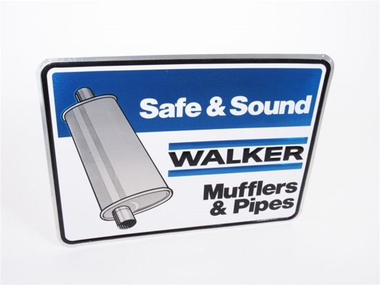 VINTAGE WALKER MUFFLERS AND PIPES EMBOSSED TIN SIGN