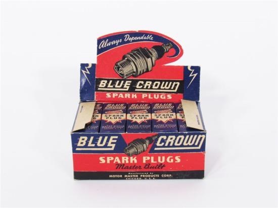1940S BLUE CROWN HUSKY SPARK PLUGS AUTOMOTIVE GARAGE DISPLAY BOX