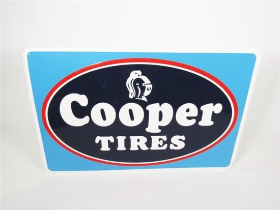 CIRCA 1960S COOPER TIRES EMBOSSED TIN AUTOMOTIVE GARAGE SIGN