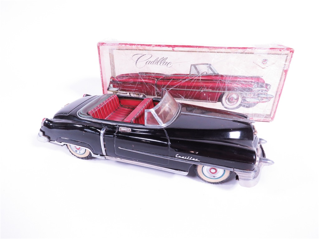1953-54 CADILLAC CONVERTIBLE JAPANESE TIN LITHO FRICTION-POWERED CAR