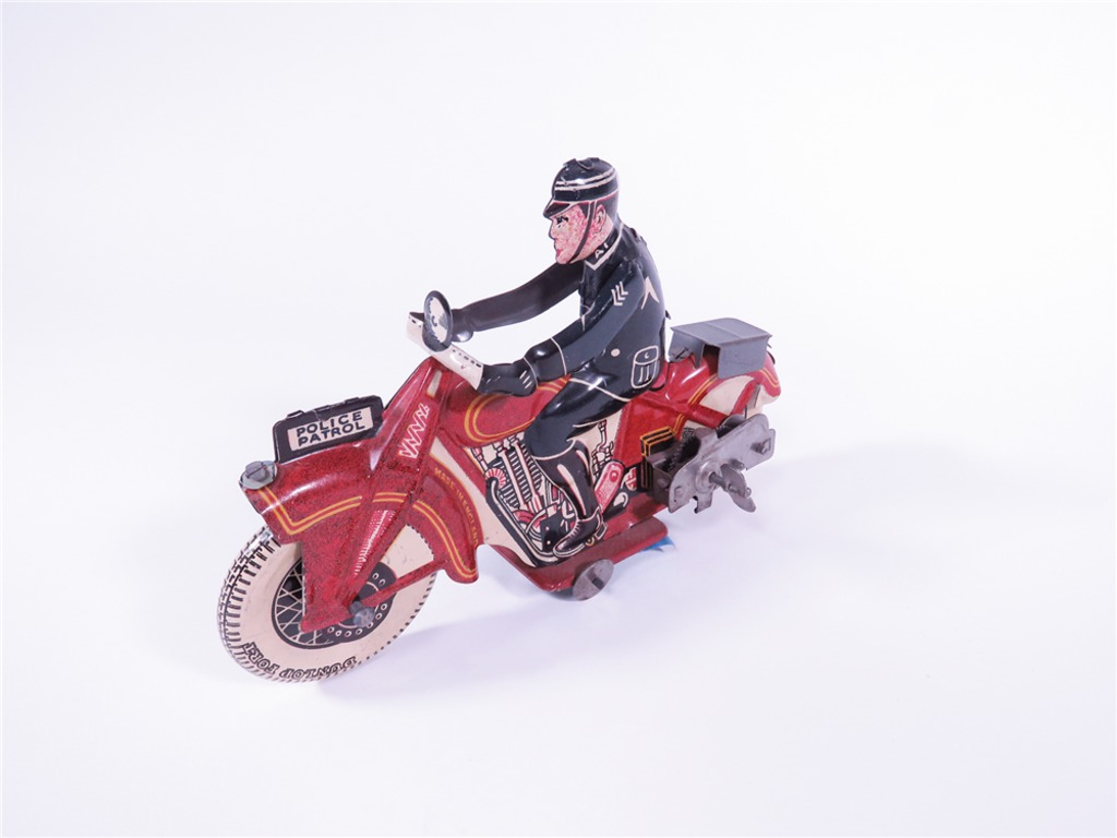 1930S ENGLISH POLICE PATROL MOTORCYCLE TIN LITHO WIND-UP TOY
