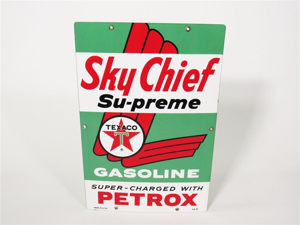 1963 TEXACO SKY CHIEF SUPREME GASOLINE PORCELAIN PUMP-PLATE SIGN