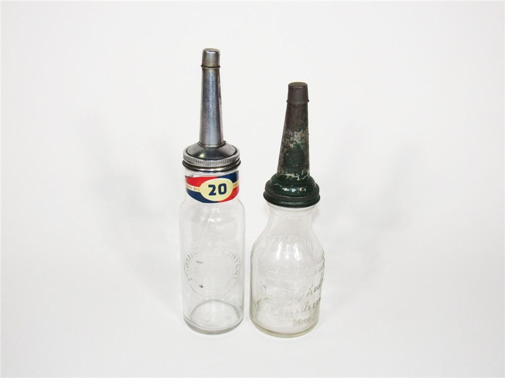 TWO 1920S-30S FILLING STATION EMBOSSED GLASS OIL BOTTLES