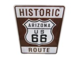 ADDENDUM ITEM - NOTEWORTHY HISTORIC ROUTE 66 - ARIZONA METAL HIGHWAY ROAD SIGN.