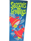 ADDENDUM ITEM - VINTAGE SEASONS GREETING OK USED CARS DEALERSHIP BANNER SIGN.