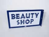 LATE 1950S-EARLY 60S BEAUTY SHOP PORCELAIN FLANGE SIGN