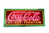 1930S COCA-COLA PORCELAIN WITH NEON DINER SIGN