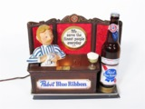 1960S PABST BLUE RIBBON BEER INTERNALLY LIT BAR BACK DISPLAY PIECE