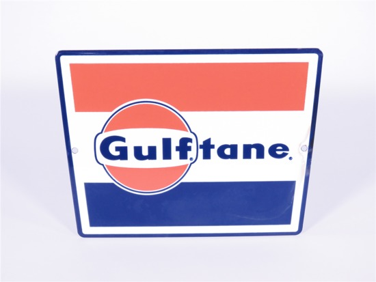 LATE 1950S-EARLY 1960S GULF OIL GULFTANE PORCELAIN PUMP PLATE SIGN
