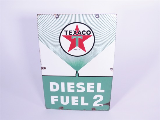 1956 TEXACO DIESEL FUEL 2 PORCELAIN PUMP PLATE SIGN