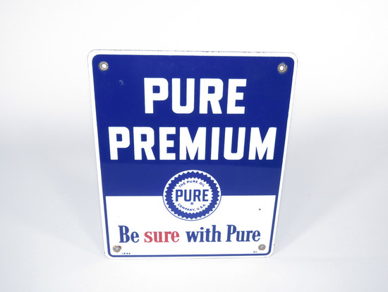 1954 PURE OIL PURE PREMIUM GASOLINE PORCELAIN PUMP PLATE SIGN