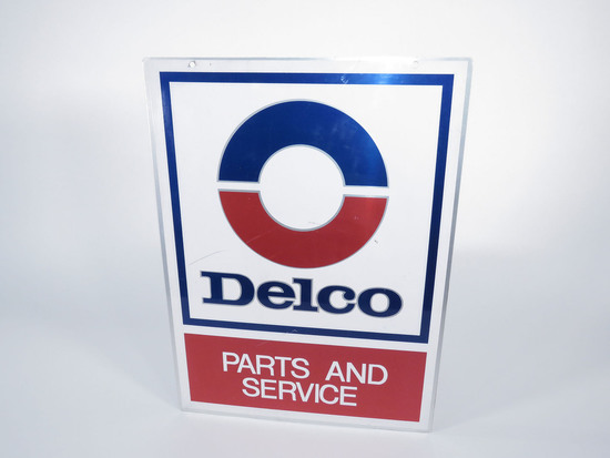 VINTAGE GM DELCO PARTS AND SERVICE TIN GARAGE SIGN