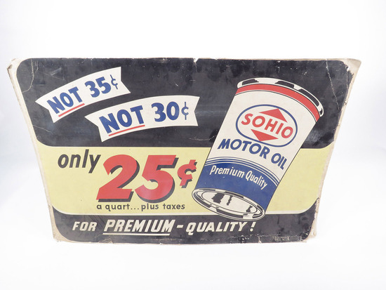 CIRCA 1940S SOHIO MOTOR OIL DISPLAY CARDBOARD