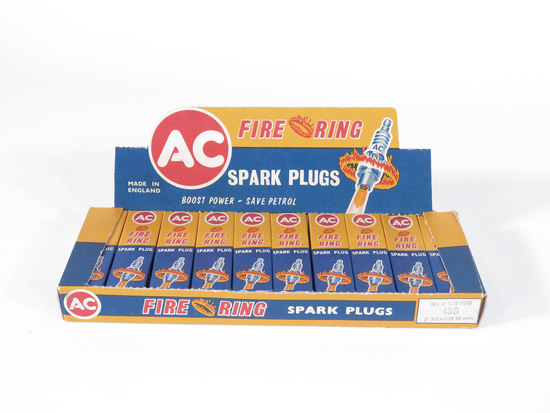 1950S AC FIRE RING SPARK PLUGS COUNTERTOP DISPLAY BOX