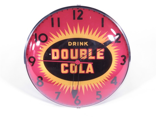 LATE 1950S DOUBLE-COLA SODA GLASS-FACED LIGHT-UP DINER CLOCK